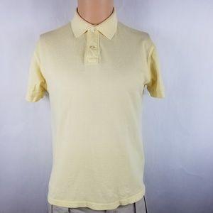 J. Crew Men Polo Shirt Sz M Yellow Solid Cotton